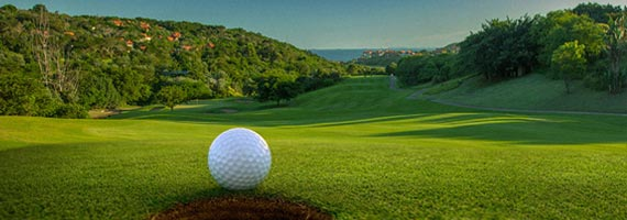 Zimbali Golf course view down fairway to the sea
