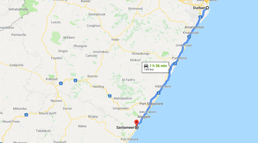 Directions Durban to Sanlameer